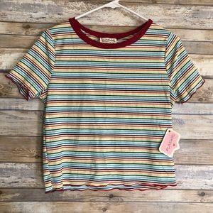 NWT✨ Rainbow Striped Ringer Tee Shirt Top Large